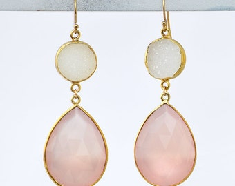 White Druzy and Pink Chalcedony Teardrop Earrings, Bridesmaids Earrings, available in Vermeil Gold or Sterling Silver - Double Drop