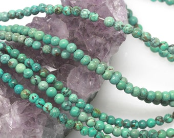 100 pcs 4mm Genuine Chinese Natural Turquoise Round Loose Beads (BH4978)