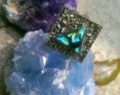 Labradorite and Crushed Pyrite Triangle Square Ring // Hippie Boho Statement Ring