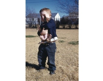 35 mm Slide/Transparency: Small Boy & Chihuahua 1961, Vintage Photo Snapshot