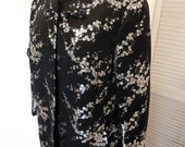 Vintage 50s Black Brocade Coat with Silver Metallic Cherry Blossoms in Opera Length OOAK