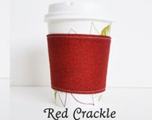 Red Crackle Print Quilted Cotton Cup Cozy(Fits Most Standard Take-out Cups)