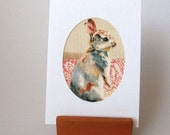 """RABBIT Fabric Greeting Card White Textured 6"""" x 4"""" with envelope. Blank for any occasion. Bunny card. Hop Hop"""