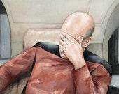 Picard Facepalm Meme Watercolor, Star Trek Art, Captain Picard, Portrait, Funny Geek Decor