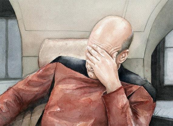 Star Trek TNG Captain Picard Facepalm Peel Off Sticker Decal, NEW ...