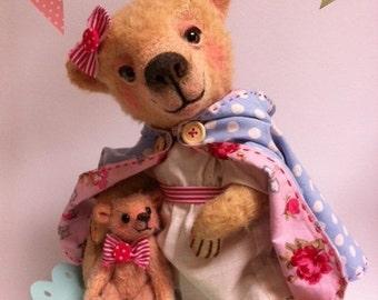 Cupcakebears Roos & Jasmin, artist bear, mohair bears, needle felted bear.