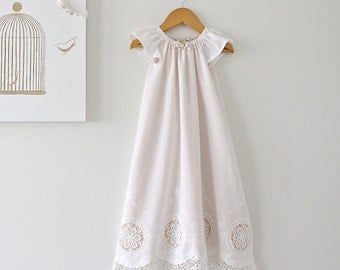 Baby Girl Long Baptism Gown-Antique White Lace and pink Silk Lining-flowers and ribbon-Christening Dress-Children Clothing by Chasing Mini