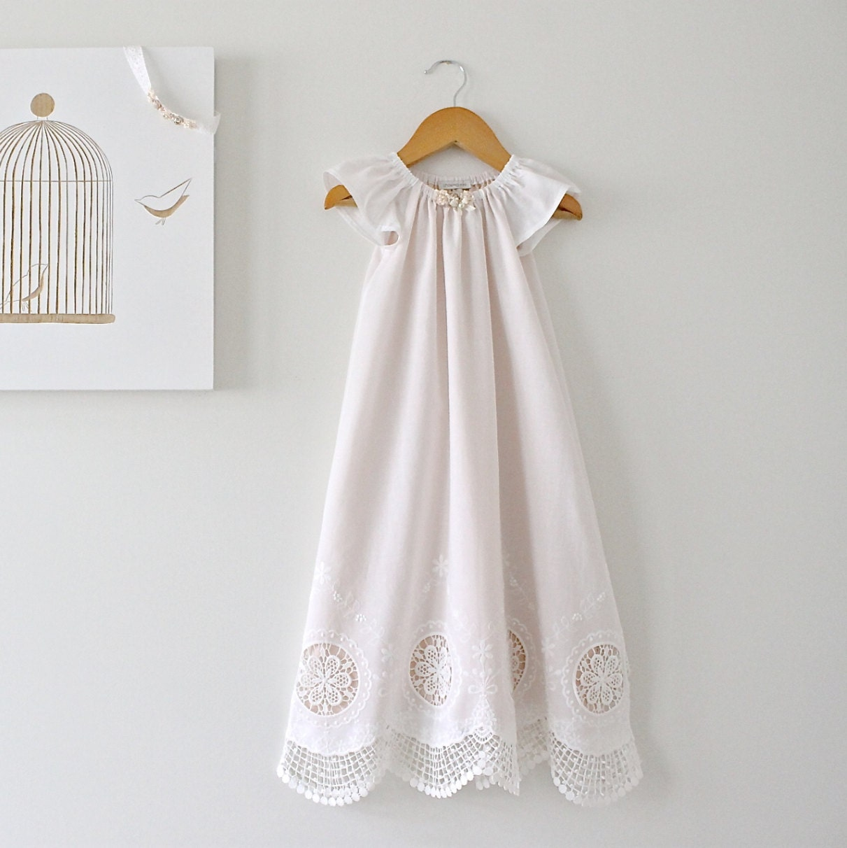 Baby Girl Long Baptism Gown Antique White Lace And Pink Silk