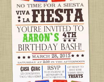 Fiesta birthday party invitation Boy birthday invite Fiesta party invite First birthday boy invite Surprise birthday invitation