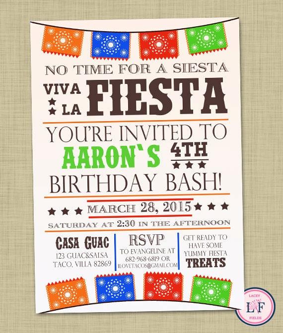 Fiesta birthday party invitation Boy birthday invite Fiesta – Boys Birthday Party Invitations