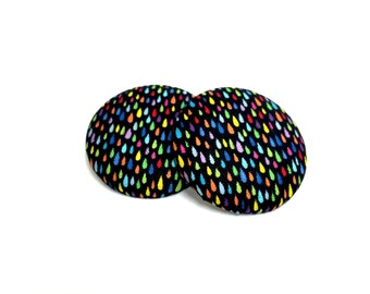 Oversized Multi-Color RainDrops Print Button Earrings