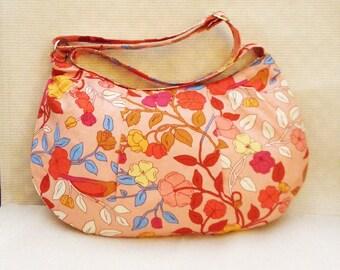 2 pc. Peach Floral Handbag Gift Set, Includes Handbag and Matching Key Fob