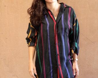 SILK vintage mid 90s COLOR BLOCK fresh prince kriss kross oversize long sleeve vintage blouse shirt top