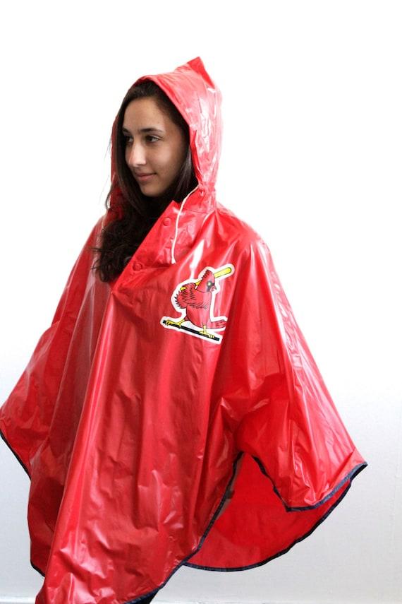 80s St. Louis CARDINALS rain parka JACKET coat by thesaltonsea