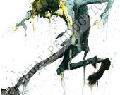 Cowboy Bebop Spike Anime Character Watercolor Painting Print Spike