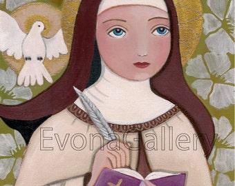 Folk Art  Painting Saint Teresa of Jesus Teresa of Ávila Print Mixed Media  santa Teresa Saint Theresa Wall Decore by EvonaGallery