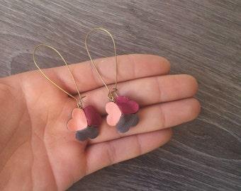 Dangle brass and leather earrings. Dangle Heart Leather Earrings. Long Earrings. Brass Geometric Earrings.