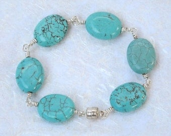 Turquoise Howlite Wire Wrapped Bracelet