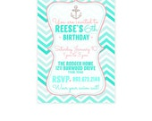 Girls Beach Birthday Party Invite - Kids Pool Party Invitation - Nautical Birthday Printables - Coral and Teal Surfer Party