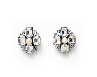CLEARANCE SALE were 130 now 80 beautiful vintage 60's AUSTRIAN crystal rhinestone diamante pearl clip on earrings