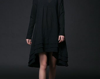 Black Linen Dress - Feminine Asymmetrical Short Loose-Fitting Plus Size Long Sleeved Spring/Summer Woman's Dress (C514)