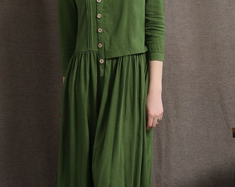 Linen Maxi Dress - Moss Green Asymmetrical Semi-Fitted Casual Comfortable Women's Dress C416