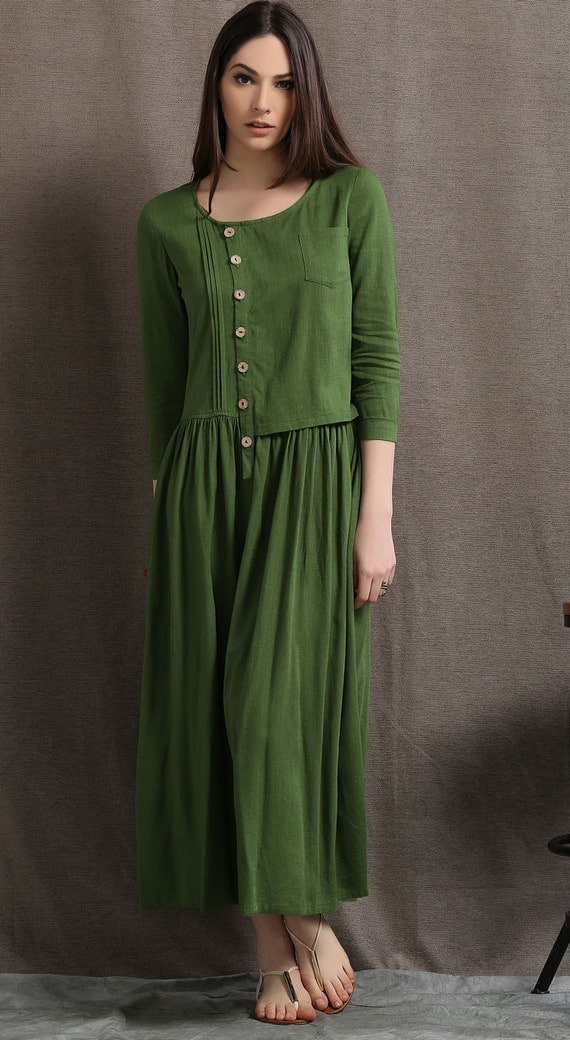 Maxi dress linen dress causal dress womens dresses dress