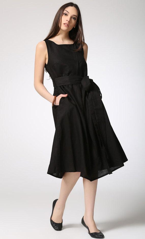 black linen dress women midi dress c422 by yl1dress on etsy