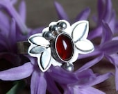 carnelian flower sterling silver ring, Thylane, blossom flower, cherry silver ring