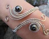 Hematite Sterling Silver Triple Spiral Bracelet- Black Beaded Wire Wrapped Coil Cuff Bangle- Handmade Gemstone Goddess Wedding Jewelry