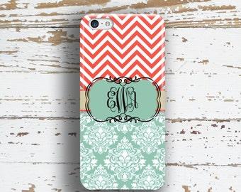 Chevron phone case, Floral Monogram Damask Case, Coral blue, Fits iPhone 4/4s 5/5s 6/6s 7 8 5c SE X and Plus (1010)