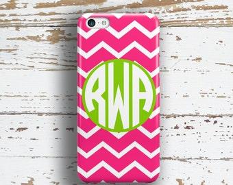 Monogram Iphone 6 case, Cute Iphone 5 case, Preppy iPhone 8 case, Chevron iPhone 6s case Girls fashion accessories, Pink lime chevron 9702P