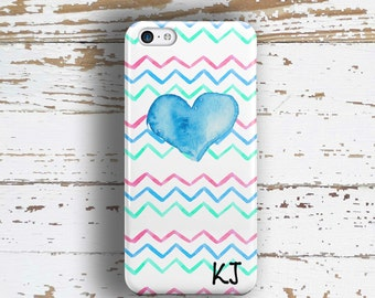 Gifts for best friend, Chevron Iphone 5c case, Girls Iphone 6 Plus case, Teen iPhone 5s case, Heart iPhone 4s case, Blue pink green (1377P)