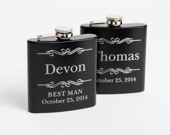 7, Bridesmaid Gift, Engraved Groomsmen Gift, Personalized Flasks, Black Stainless Steel Flasks, 7 Flasks