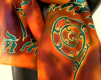 Orange Gold Handpainted SILK SCARF, New Zealand  Koru, Tree Ferns, KIWIANA, Gold outlines, Tawny, Habotai Silk, 28 x 150cm, Handmade Gift,