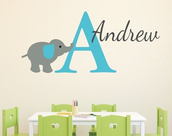 Monogram Personalized Name and Initial Cute Elephant Vinyl Decal Jungle Nursery -CT4521