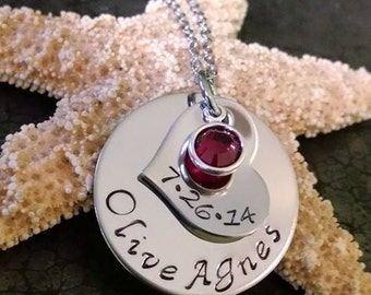 Personalized Mothers Day Gift First Time Mom Gift New Mom Gift Personalized Necklace Hand Stamped Mother's Necklace