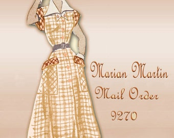 Mail Order Marian Martin 9270 Vintage 1950s Dress Pattern Mid Century Detachable Collar Flared Skirt Variable Sleeves Bust 34