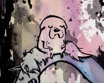 5x7 in Jake and Lady Rainicorn Original Painting Adventure Time Fan Art Finn Jake watercolor ink