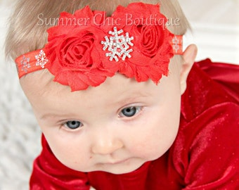 Snowflake Headband, Baby Headband, Red Christmas Headband, Infant Headband, Baby Headband, Newborn Headband, Red Baby Headbands