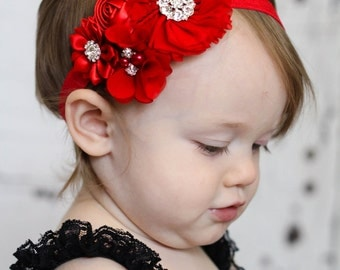 Valentine headband, Baby Headband, Infant Headband, Newborn Headband, Baby Headband, , Toddler Headband. Red Chiffon and Satin