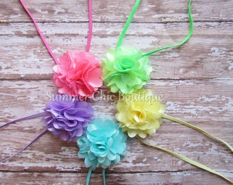 Spring Headband Set - Baby Headbands, Infant Headband, Toddler Headbands, Set of 5 Pastels Mini Mesh Puff Flowers on skinny elastic