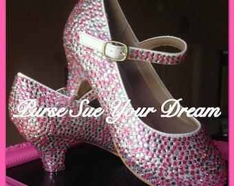 Crystal Rhinestone Heels - Wedding Heels - Swarovski Crystal Heels - Pageant Shoes - Prom Heels - Toddler/Youth/Adult Heels
