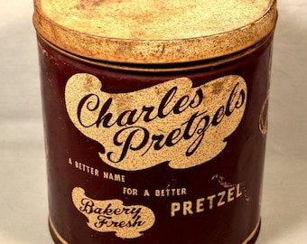 Charles Chips Tin Pretzel Tin Vintage 1970s 70s