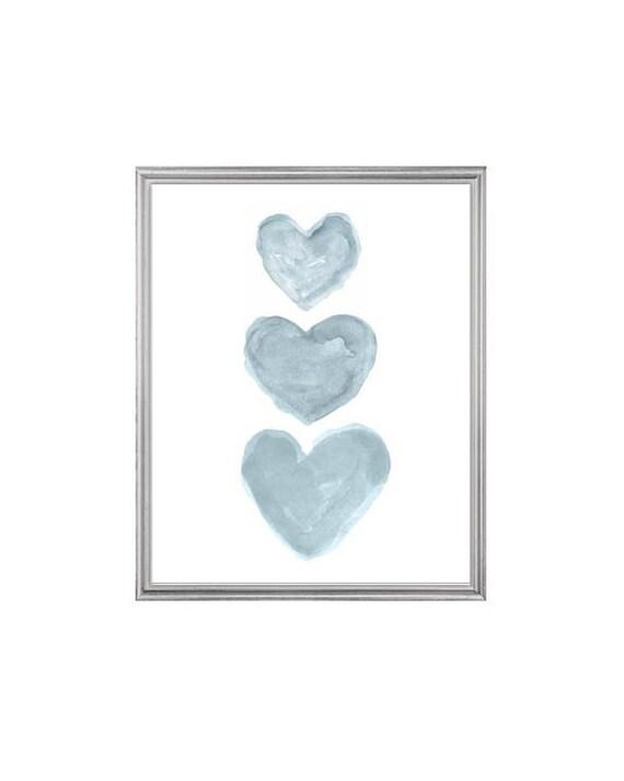 Blue Gray Nursery Decor, 8x10 Watercolor Hearts Print