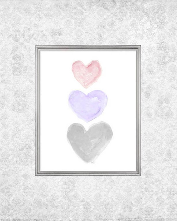 Lavender, Pink, Gray Hearts Nursery Print, 8x10