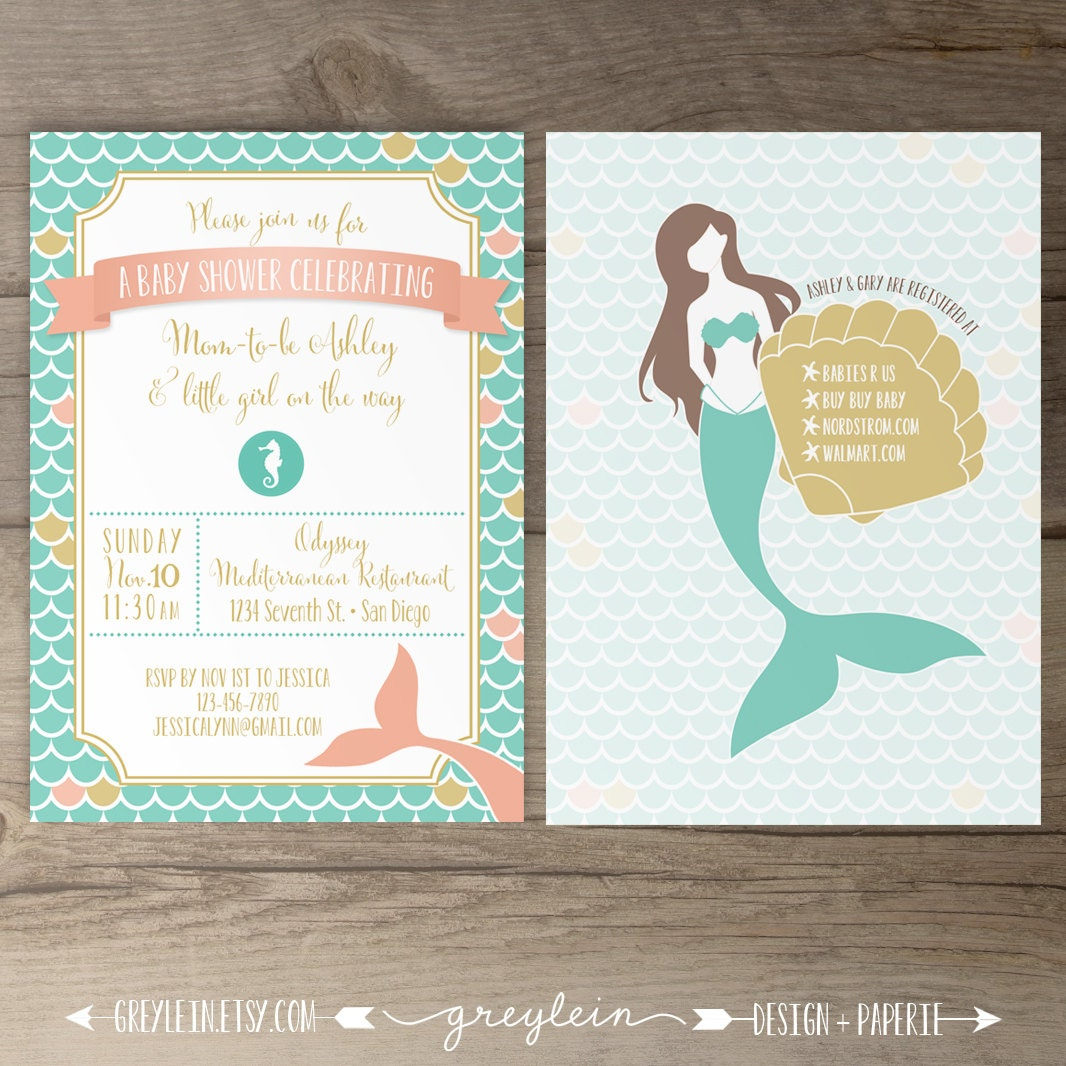 Mermaid Baby Shower Invitations Birthday Mermaid Seashell