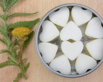 55 Soy Wax Heart Melts in a 4oz Window Tin, Lavender and Chamomile, READY TO SHIP! or Sample Size 10 hearts in a 1oz Tin