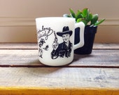 Hopalong Cassidy Children's Mug Fire King/ Hazel Atlas Milk Glass 1950's