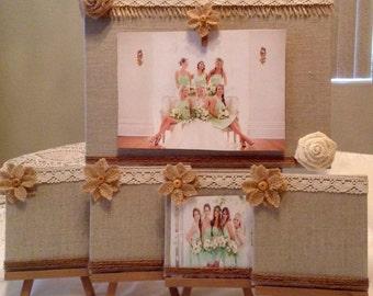 Wedding Photo Holder...Bride..Bridemaids...Bridal Party..Wedding..Bridal Shower..Set of Five